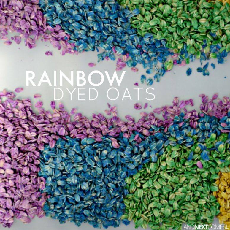 DIY rainbow oats sensory bin (via www.andnextcomesl.com)