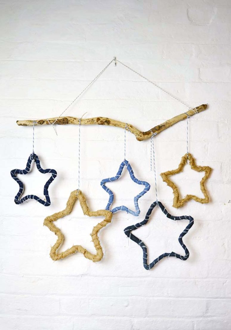 DIY fabric and denim wrapped star hangings (via www.pillarboxblue.com)