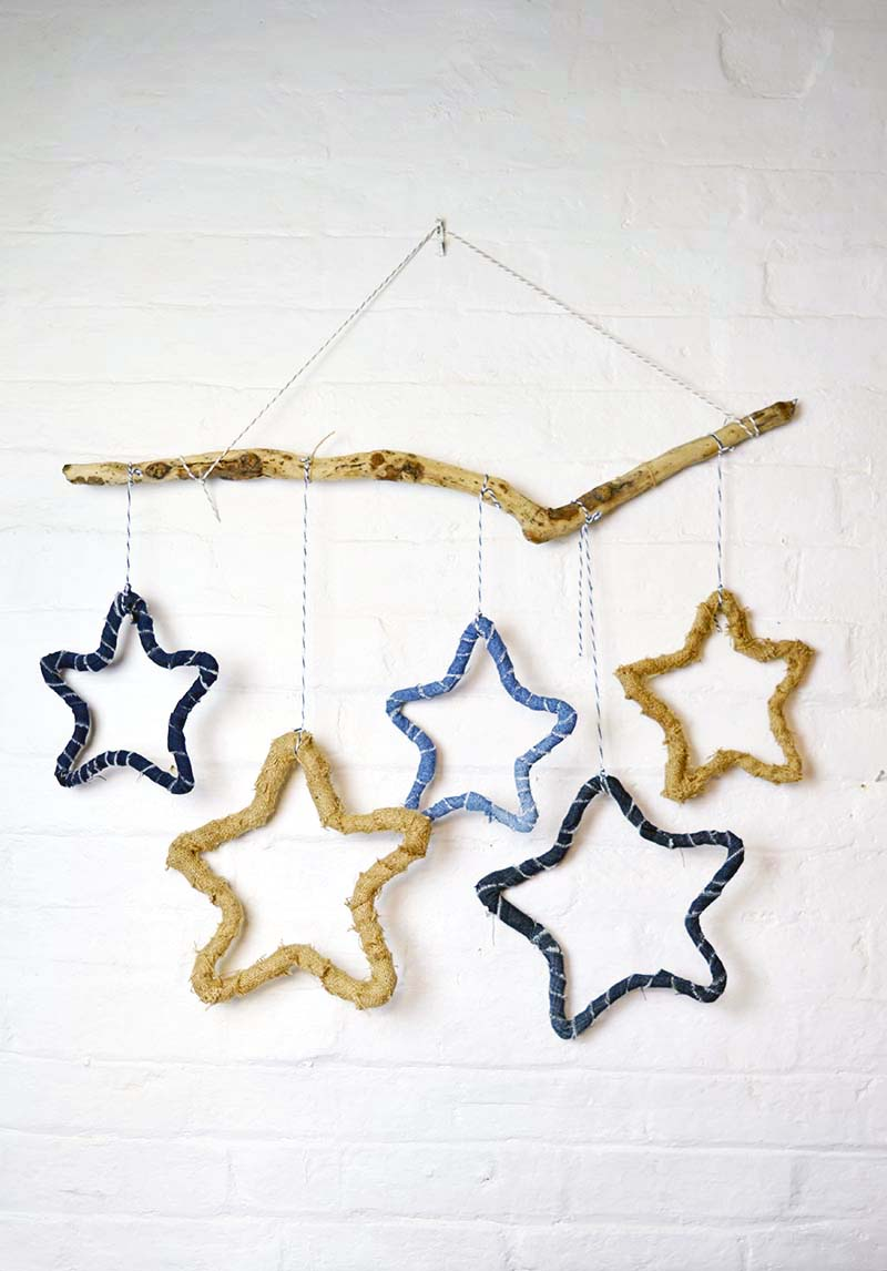 DIY fabric and denim wrapped star hangings