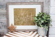 DIY glittery Christmas sogn artwork