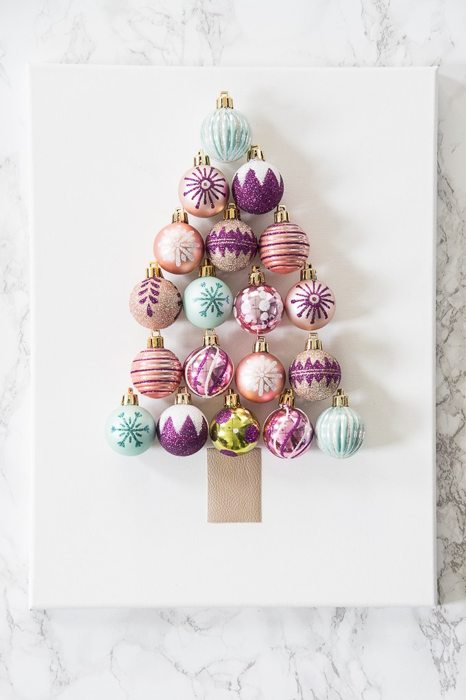 DIY Christmas ornament tree art (via www.keystoinspiration.com)