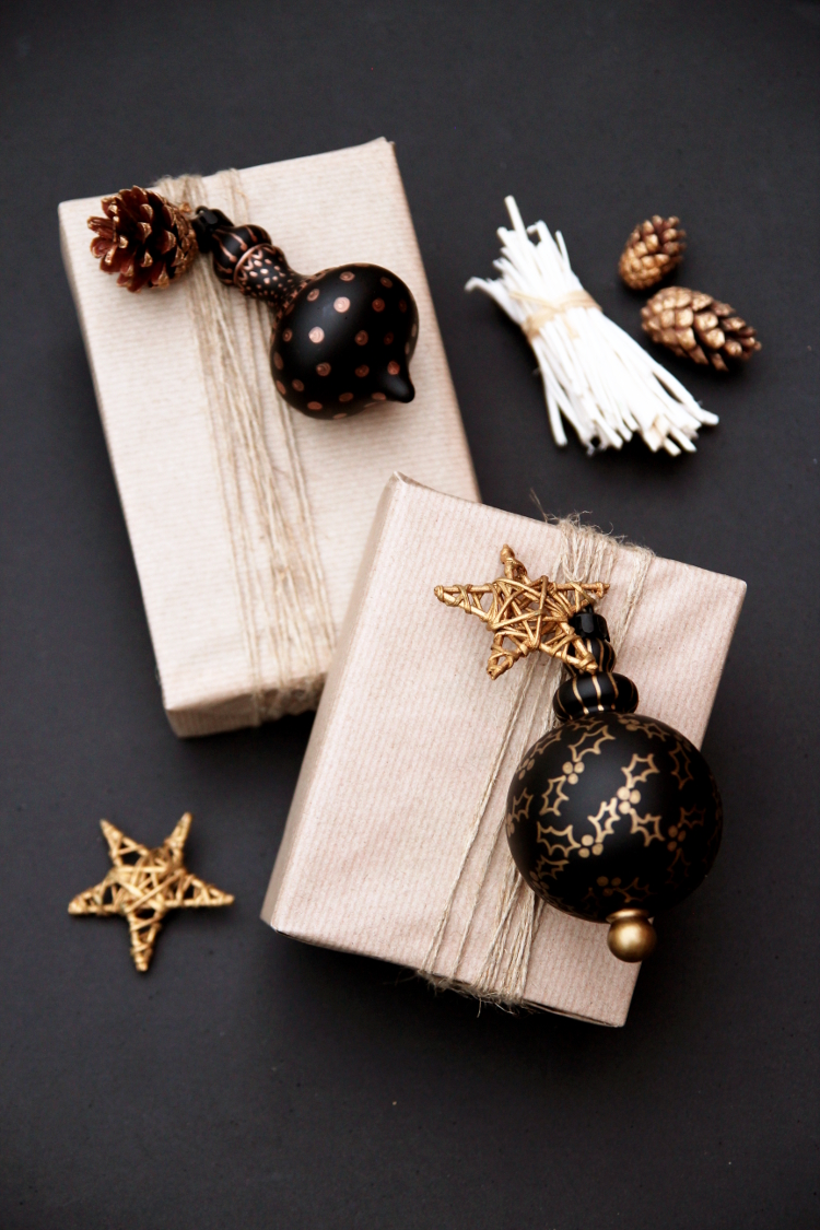 DIY decorated bauble gift toppers (via www.gatheringbeauty.com)