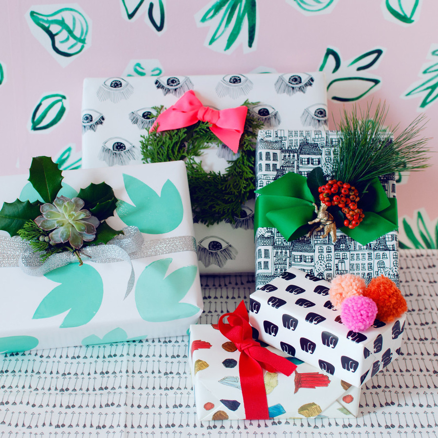 DIY evergreen gift toppers