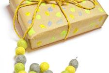 DIY colorful felt bead monogram gift toppers