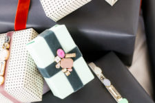 DIY rhinestone embellished gift topper