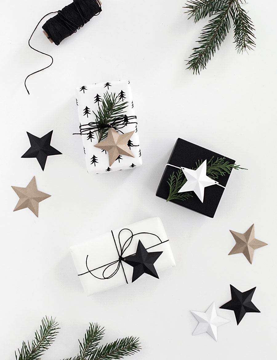 DIY 3D star gift toppers