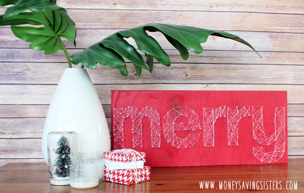 DIY MERRY Christmas string art sign (via moneysavingsisters.com)