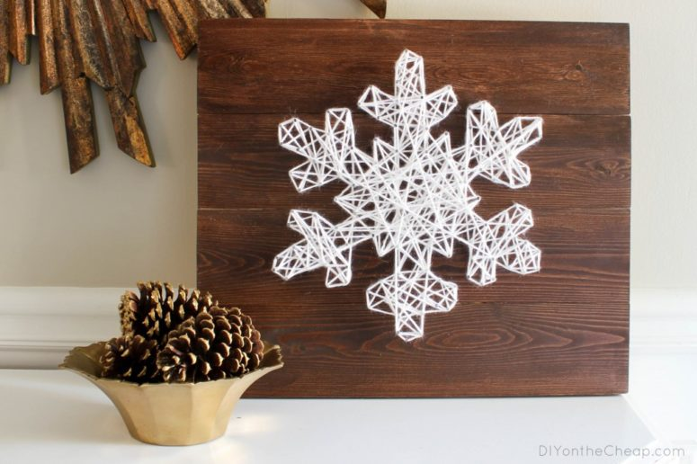 DIY snowflake string art (via www.erinspain.com)
