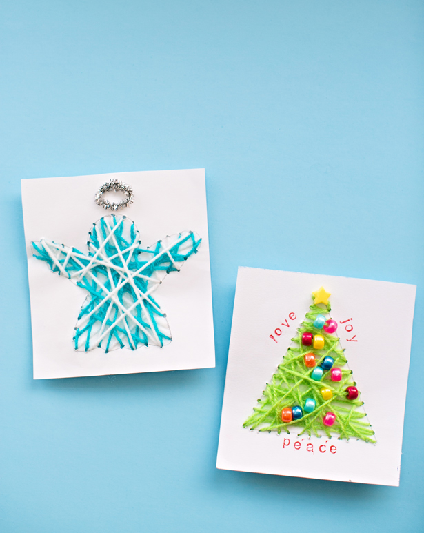 DIY string art Christmas cards (via www.hellowonderful.co)