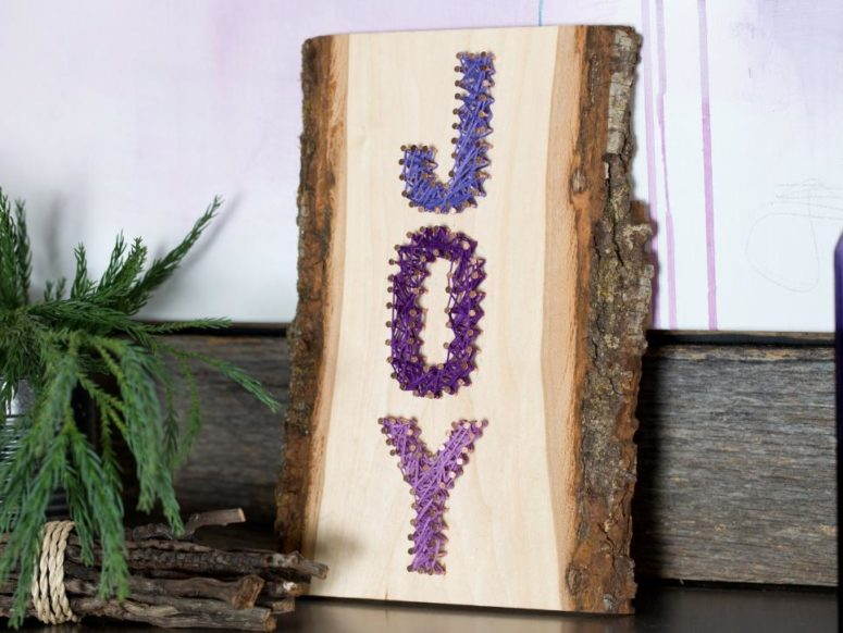 DIY rustic JOY string art (via www.hgtv.com)