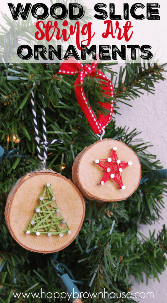 DIY wood slice string Christmas ornaments