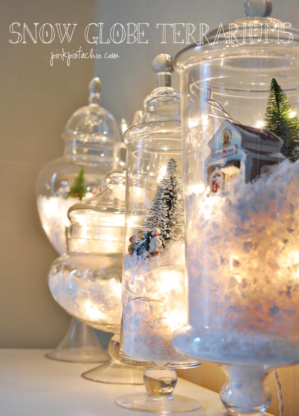 DIY snow globe Christmas terrarium