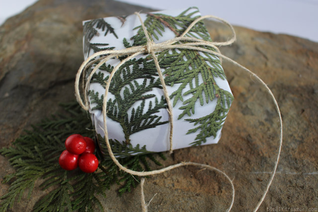 DIY pine branch print wrapping paper