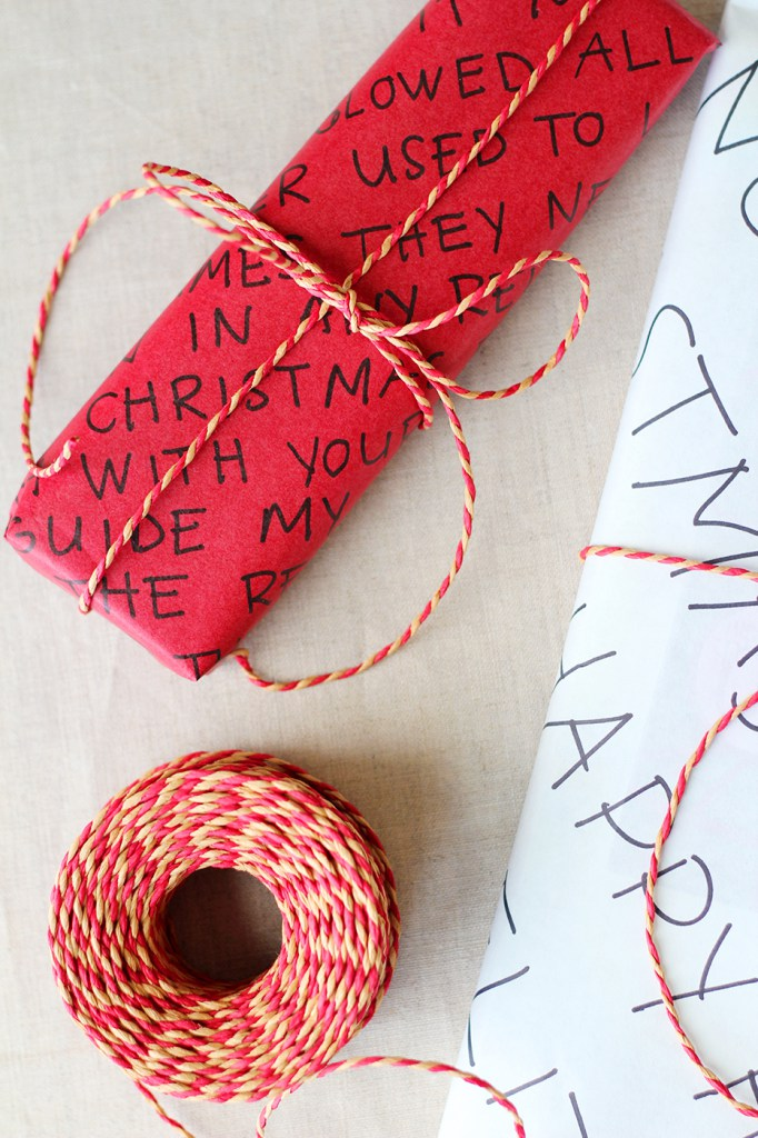DIY red wrapping paper with markers (via splashofsomething.com)