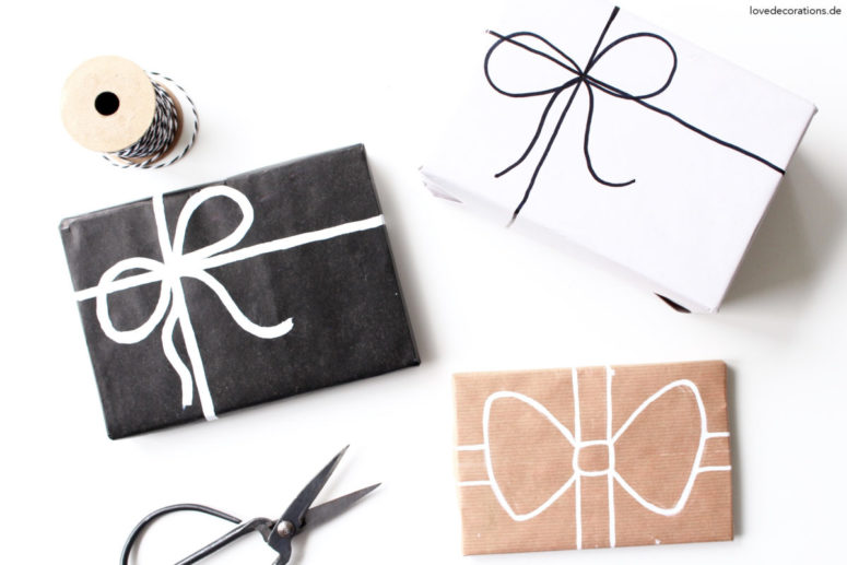 DIY kraft paper with bows drawn with markers (via lovedecorations.de)