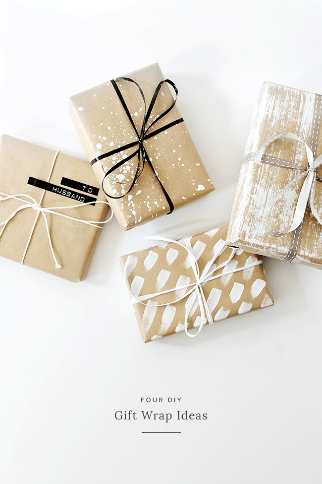 DIY wrapping paper with white paint (via almostmakesperfect.com)