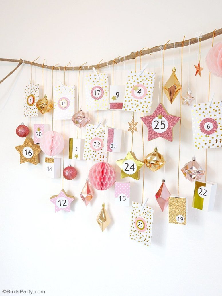 DIY pink and copper advent calendar (via www.blog.birdsparty.com)
