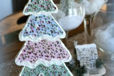 DIY pastel Christmas tree with crystals