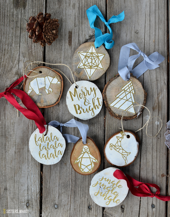 DIY geometric wood slice ornaments (via www.sisterswhat.com)