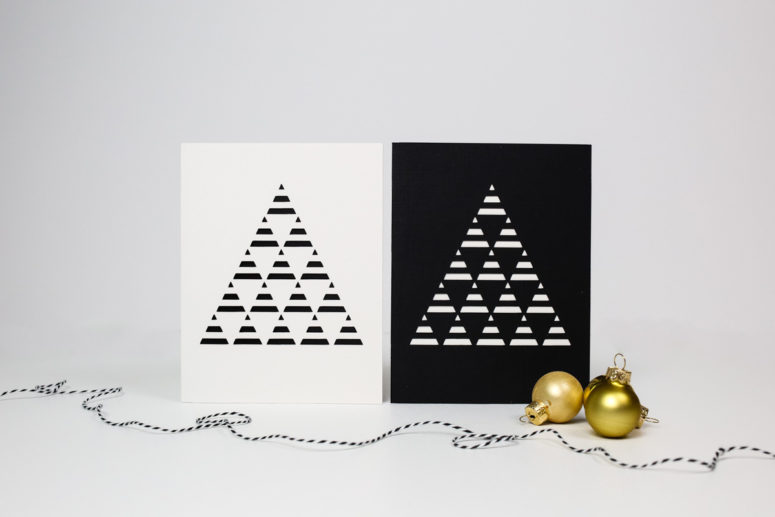 DIY minimalist Christmas tree card (via tinselandtrim.com)