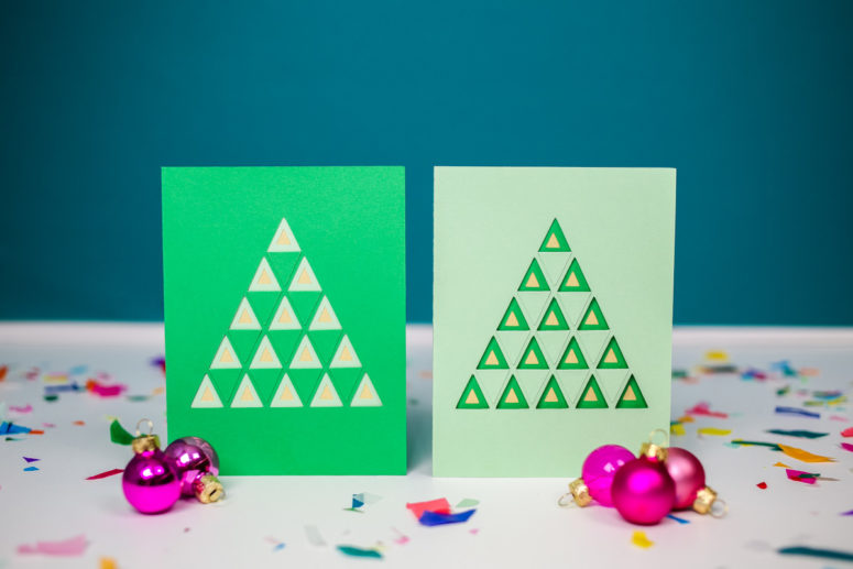 DIY colroful layered Christmas tree card (via tinselandtrim.com)