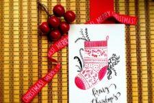 DIY watercolor Christmas stocking card