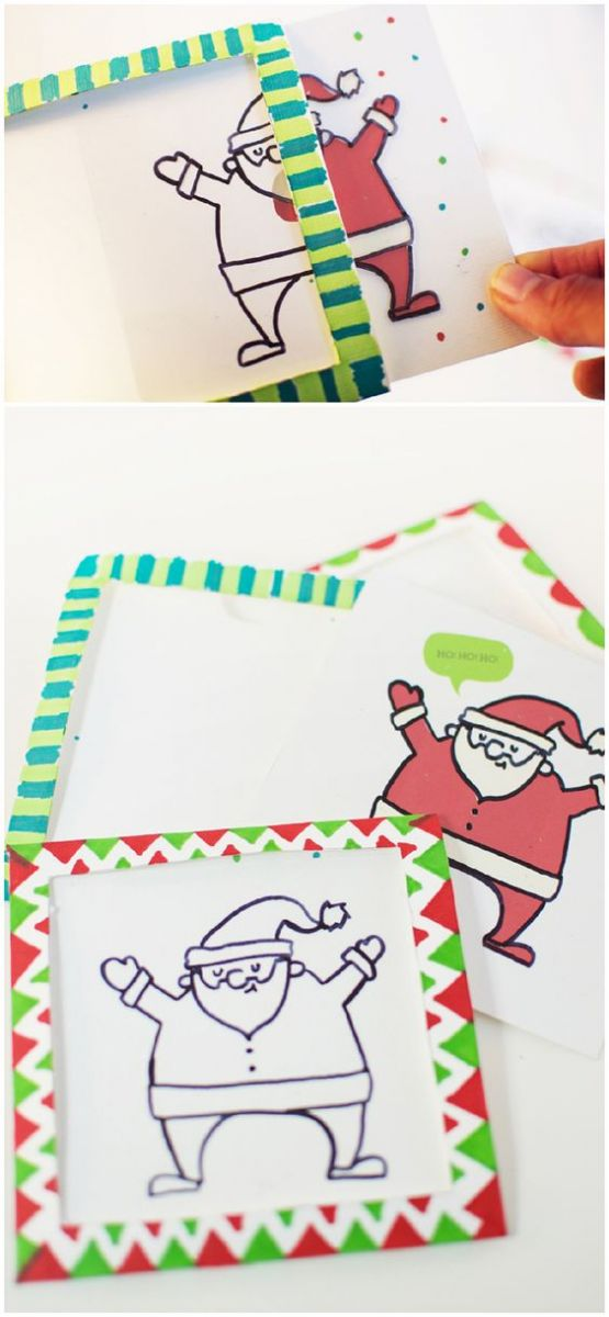 DIY Sant Claus Christmas cards