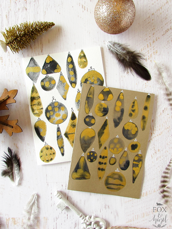 DIY black and gold ornament watercolor cards (via www.foxandhazel.com)