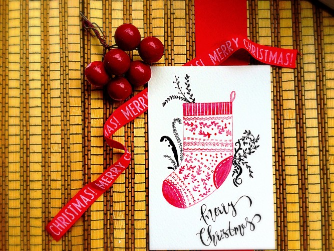 DIY watercolor Christmas stocking card