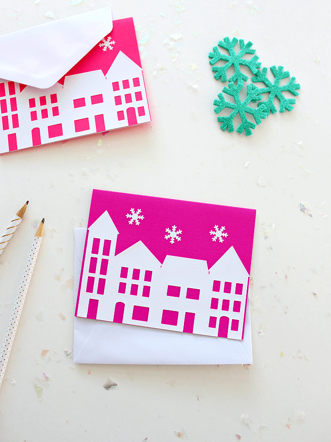 DIY house silhouette Christmas cards (via www.whitehousecrafts.net)