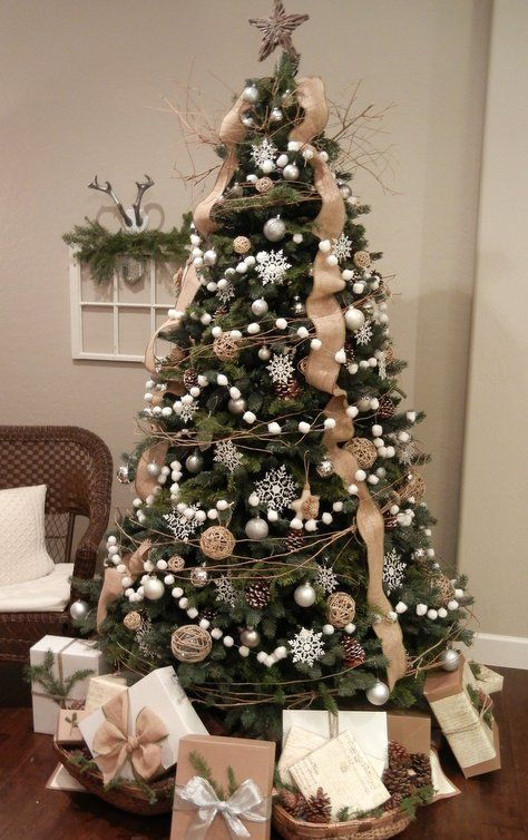 a gorgeous christmas tree with burlap white pompom garlands pinecones and pearly ornaments - Burlap Christmas