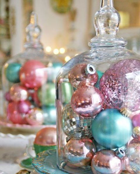 cloches with various colorful ornaments are easy to make and look vintage
