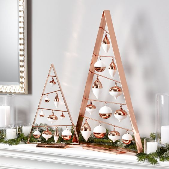 modern copper frame trees with ornaments in copper and white look adorable