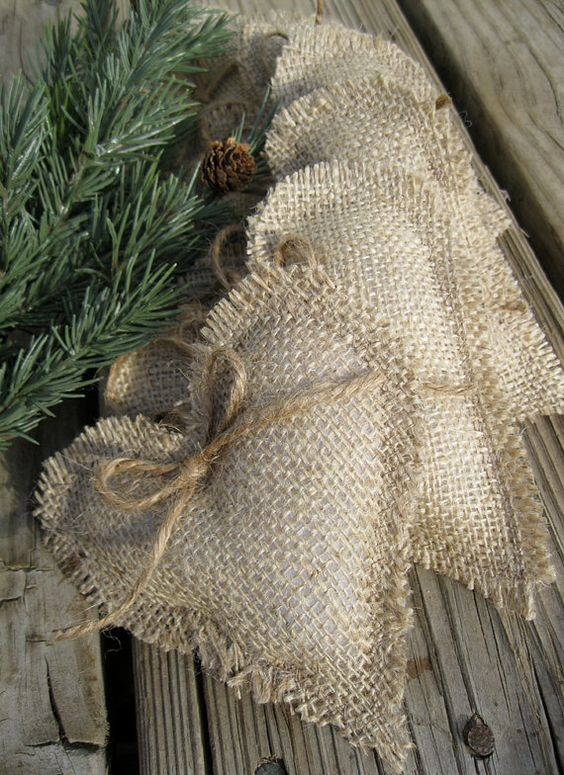 burlap heart ornaments with bows