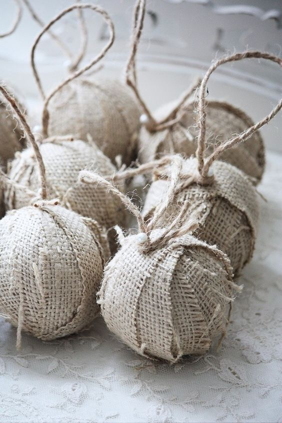 simple burlap wrapped ball ornaments with twine are ideal for rustic decor
