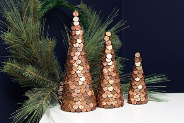 a copper penny Christmas tree trio for mantel decor or a windowsill