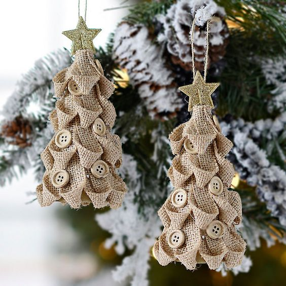 cute burlap Christmas tree ornaments with buttons and glitter star toppers