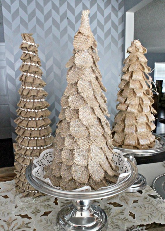 burlap Christmas trees of petals, loops and rhinestone garlands for a rustic display
