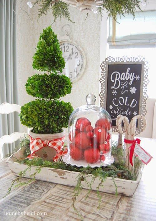 a tray with red ornaments in a cloche, a boxwood tree and some candy cones in a jar