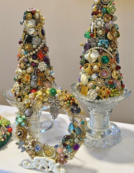 glam jeweled tabletop christmas trees and a matching wreath to bring a vintage chic feel