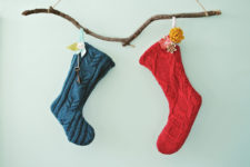 DIY no sew sweater stockings
