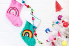 DIY colorful stockings with felt rainbows