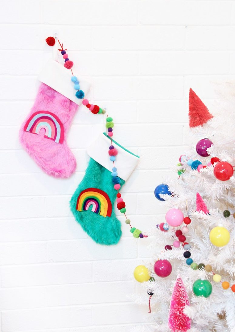 DIY colorful stockings with felt rainbows (via abubblylife.com)