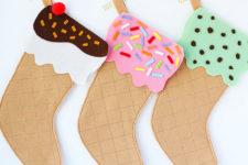 DIY ice cream cone stockings