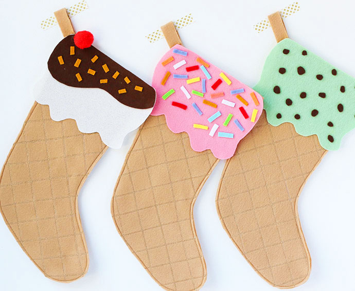 DIY ice cream cone stockings (via mypoppet.com.au)