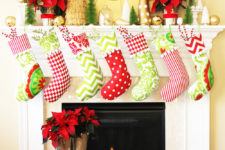 DIY traditional green, red and white stockings