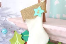 DIY creamy velvet and glitter stocking