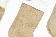 DIY simple burlap Christmas stockings