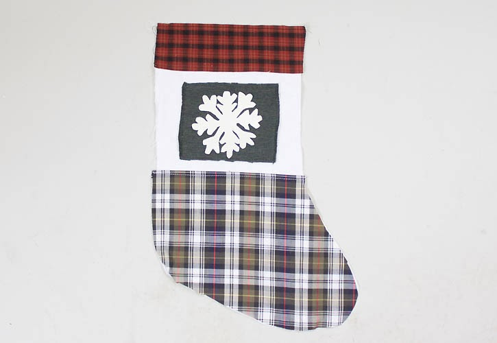 DIY rustic plaid and snowflake stockings