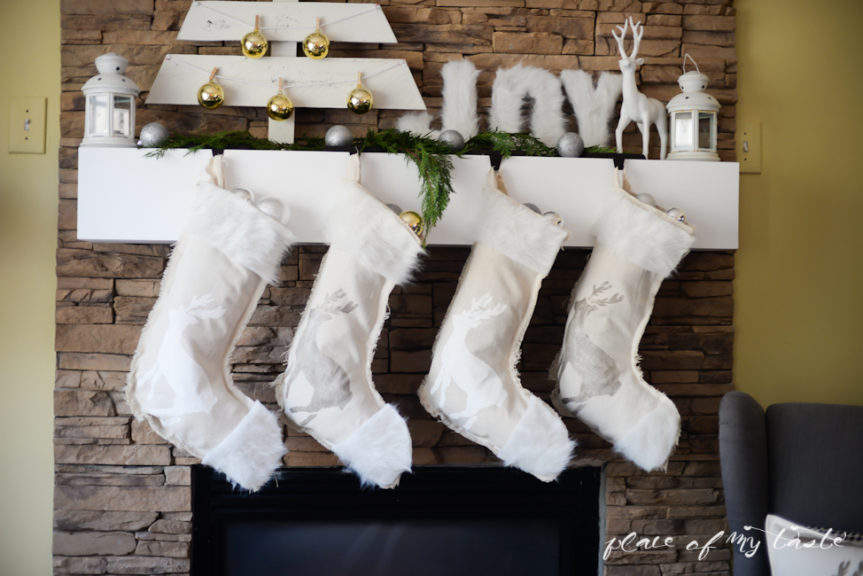 DIY no sew neutral stockings with faux fur